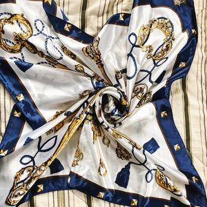Vintage silk equestrian square scarf